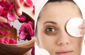rose water to get rid of dark circles
