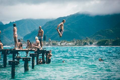 enjoying cool breeze during swimming